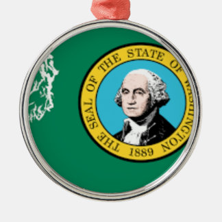 Flag Map Of Washington Metal Ornament