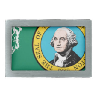 Flag Map Of Washington Rectangular Belt Buckle