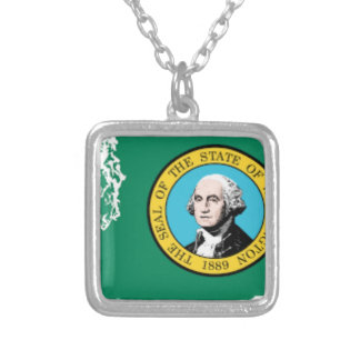 Flag Map Of Washington Silver Plated Necklace