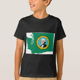 Flag Map Of Washington T-Shirt