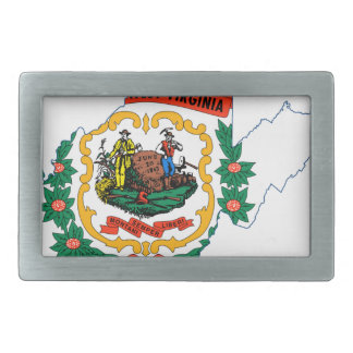 Flag Map Of West Virginia Belt Buckle
