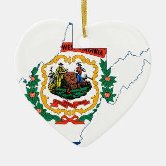 Flag Map Of West Virginia Ceramic Ornament