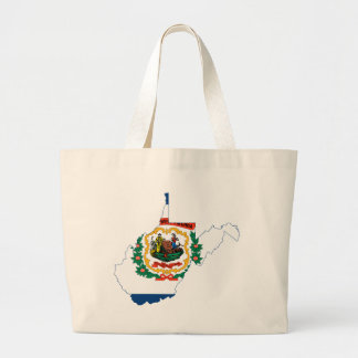 Flag Map Of West Virginia Large Tote Bag