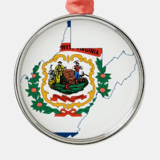 Flag Map Of West Virginia Metal Ornament