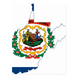 Flag Map Of West Virginia Postcard