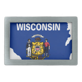 Flag Map Of Wisconsin Belt Buckle