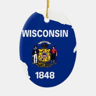 Flag Map Of Wisconsin Ceramic Ornament