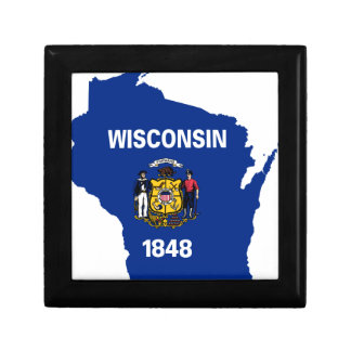 Flag Map Of Wisconsin Gift Box