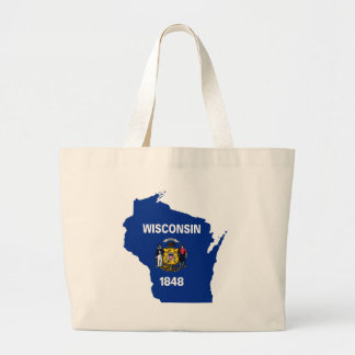 Flag Map Of Wisconsin Large Tote Bag
