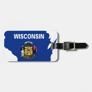 Flag Map Of Wisconsin Luggage Tag
