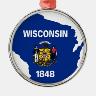 Flag Map Of Wisconsin Metal Ornament