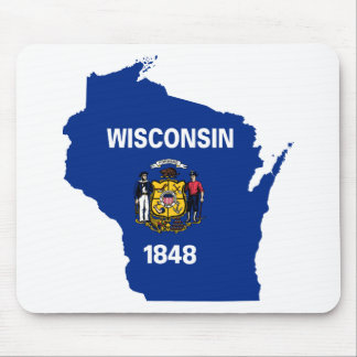 Flag Map Of Wisconsin Mouse Pad