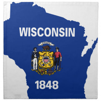 Flag Map Of Wisconsin Napkin