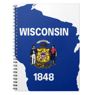 Flag Map Of Wisconsin Notebook