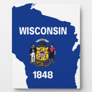 Flag Map Of Wisconsin Plaque