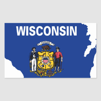 Flag Map Of Wisconsin Sticker