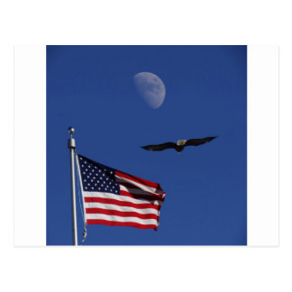 Flag Moon Eagle Postcard