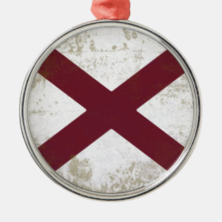 FLAG OF ALABAMA Silver-Colored ROUND ORNAMENT