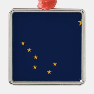Flag of Alaska Silver-Colored Square Ornament