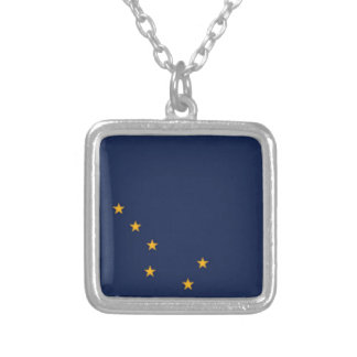 Flag Of Alaska Silver Plated Necklace