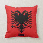 Flag of Albania, labelled Throw Pillow