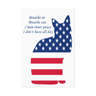 Flag of America American Funny Cat Canvas Print