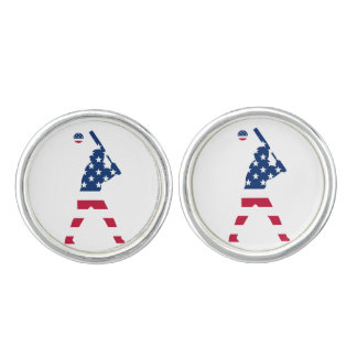 Flag of America Baseball American Cufflinks