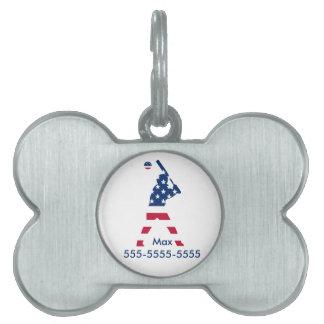 Flag of America Baseball American Pet Name Tag