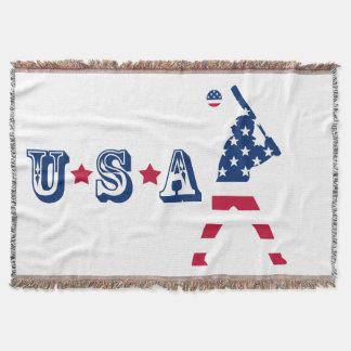 Flag of America Baseball American Throw Blanket