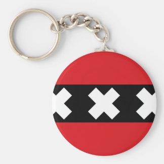 Flag of Amsterdam Basic Round Button Keychain
