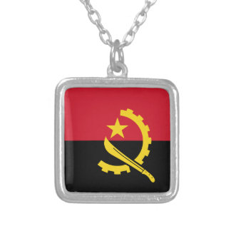 Flag of Angola - Bandeira de Angola Silver Plated Necklace