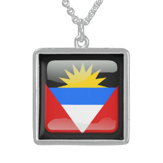 Flag of Antigua and Barbuda Sterling Silver Necklace