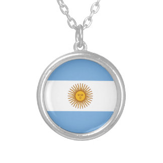 Flag of Argentina - Bandera de Argentina Silver Plated Necklace