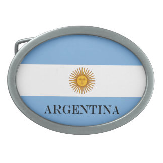 Flag of Argentina Oval Belt Buckle