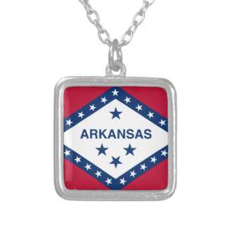 Flag of Arkansas Silver Plated Necklace