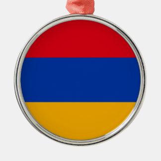 Flag of Armenia - Yeraguyn Silver-Colored Round Ornament