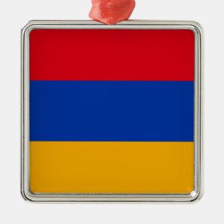 Flag of Armenia - Yeraguyn Silver-Colored Square Ornament