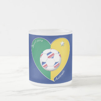 Flag of AUSTRALIA national SOCCER of the world Frosted Glass Coffee Mug