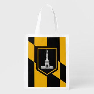 Flag of Baltimore, Maryland Reusable Grocery Bag