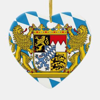 Flag OF Bavaria Ceramic Heart Ornament