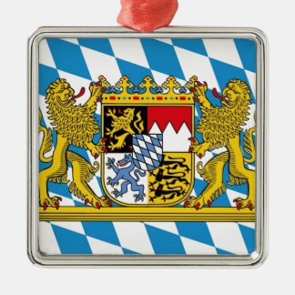 Flag OF Bavaria Silver-Colored Square Ornament