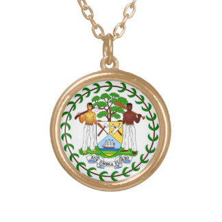 Flag of Belize Gold Plated Necklace