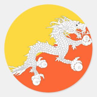 Flag of Bhutan - ཧྥ་རན་ས་ཀྱི་དར་ཆ - ཧྥ་རན་ས་ཀྱི་དར Round Sticker
