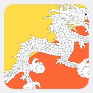 Flag of Bhutan - ཧྥ་རན་ས་ཀྱི་དར་ཆ - ཧྥ་རན་ས་ཀྱི་དར Square Sticker