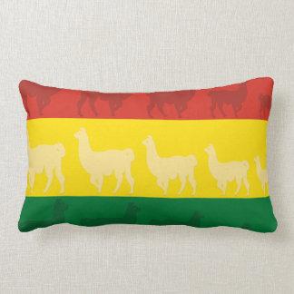 Flag of Bolivia with Llamas Lumbar Pillow