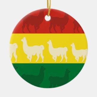Flag of Bolivia with Llamas Round Ceramic Ornament