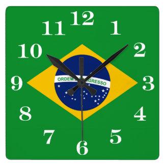 Flag of Brazil Bandeira do Brasil Square Wall Clock