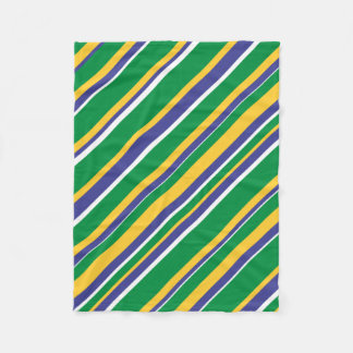 Flag of Brazil Inspired Colored Stripes Pattern Fleece Blanket