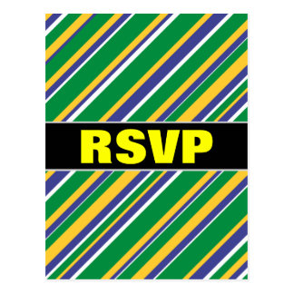 Flag of Brazil Inspired Colored Stripes Pattern Postcard