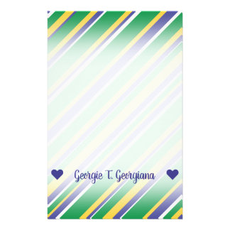 Flag of Brazil Inspired Colored Stripes Pattern Stationery